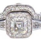 14K WHITE GOLD ASSCHER CUT DIAMOND BEZEL ENGAGEMENT RING AND BAND 2.40CTW