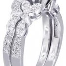 18K WHITE GOLD ROUND CUT DIAMOND ENGAGEMENT RING AND BAND ART DECO 0.85CTW