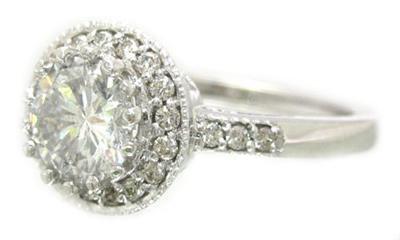 14K WHITE GOLD ROUND CUT DIAMOND ENGAGEMENT RING ANTIQUE ART DECO STYLE 1.40CTW