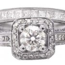 14K WHITE GOLD ROUND CUT DIAMOND ENGAGEMENT RING AND BAND ANTIQUE STYLE 2.05CTW