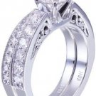 14k White Gold Round Cut Diamond Engagement Ring And Band Art Deco 1.05ctw