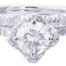 18K WHITE GOLD ROUND CUT DIAMOND ENGAGEMENT RING AND BAND 2.08CTW H-SI1 EGL CERT