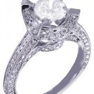 14k White Gold Round Cut Diamond Engagement Ring Art Deco Antique Style 1.55ct
