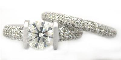 ROUND CUT DIAMOND ENGAGEMENT RING AND BAND TENSION 14K WHITE GOLD 2.00CT