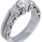 14K WHITE GOLD ROUND CUT DIAMOND ENGAGEMENT RING AND BAND ANTIQUE STYLE 1.15CTW