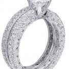 14k White Gold Round Cut Diamond Engagement Ring And Band Antique Style 1.70ctw