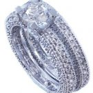 14K WHITE GOLD ROUND CUT DIAMOND ENGAGEMENT RING AND BAND ANTIQUE STYLE 1.95CTW