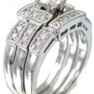 14K WHITE GOLD ROUND CUT DIAMOND ENGAGEMENT RING AND TWO BANDS DECO 1.20CTW