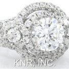 ROUND CUT DIAMOND ENGAGEMENT RING ART DECO FRENCH SET PAVE 2.00CT