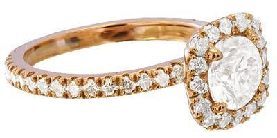 18K ROSE GOLD ROUND CUT DIAMOND ENGAGEMENT RING ART DECO DESIGN 1.52CTw