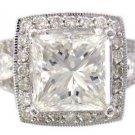 GIA H-SI1 18K White Gold Princess Cut Diamond Engagement Ring Art Deco 3.00ctw