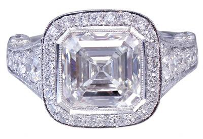 18k White Gold Asscher Cut Diamond Bezel Engagement Ring 3.30ctw G-VS2 EGL USA