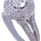 14K WHITE GOLD ROUND CUT DIAMONDS ENGAGEMENT RING ART DECO SPLIT BAND HALO 1.60C