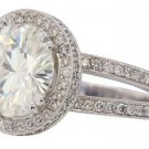 18K WHITE GOLD ROUND DIAMOND ENGAGEMENT RING ANTIQUE DECO SPLIT BAND 2.65CTTW