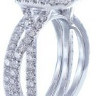 18K WHITE GOLD CUSHION CUT DIAMOND ENGAGEMENT RING AND BAND 3.20CT I-VS2 EGL USA