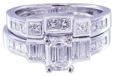 14K WHITE GOLD EMERALD CUT DIAMOND ENGAGEMENT RING AND BAND 2.30CT H-VS2 EGL USA