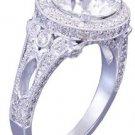 GIA H-VS2 18k white gold round cut diamond engagement ring art deco halo 2.70ctw