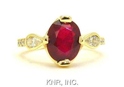 14K YELLOW GOLD 2.53CT OVAL RUBY & PEAR ROUND DIAMONDS DECO DESIGN RING