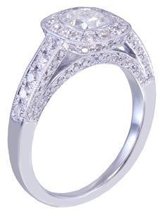 14k White Gold Cushion Cut Diamond Engagement Ring Bezel 1.70ctw F-SI1 EGL USA