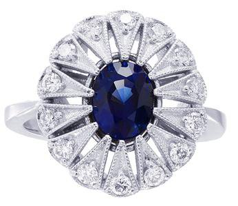 18K WHITE GOLD OVAL CUT SAPPHIRE AND DIAMONDS ENGAGEMENT RING 1.05CTW