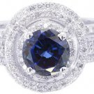 14K WHITE GOLD ROUND SAPPHIRE AND DIAMONDS ART DECO STYLE RING AND BANDS 2.20CTW