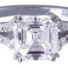 18K WHITE GOLD ASSCHER CUT DIAMOND ENGAGEMENT RING ART DECO SPLIT BAND 2.39CTW