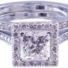 14K WHITE GOLD PRINCESS CUT DIAMOND ENGAGEMENT RING AND BAND HALO DECO 1.65CTW