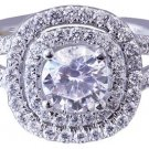 18K WHITE GOLD ROUND CUT DIAMOND ENGAGEMENT RING ART DECO SPLIT BAND 1.90CTW