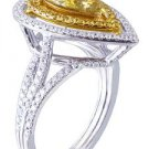 GIA Fancy Yellow 18K White Gold Pear Cut Diamond Engagement Ring halo 2.20ct