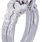 18k White Gold Round Cut Diamond Engagement Ring And Band Art Deco Style 0.65ctw