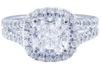 18K WHITE GOLD CUSHION CUT DIAMOND ENGAGEMENT RING ART DECO 2.92CT I-SI1 EGL USA