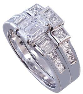 14K WHITE GOLD EMERALD CUT DIAMOND ENGAGEMENT RING AND BAND 2.30CT I-VS2 EGL USA