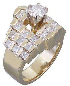 GIA H-SI1 14K Yellow Gold Round and Princess Cut Diamond Engagement Ring 1.70ctw