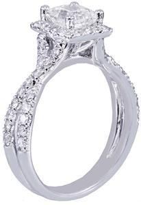 18k White Gold Princess Cut Diamond Engagement Ring Art Deco Halo Split 1.65ctw