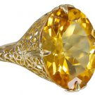 14k Yellow Gold Oval Cut Yellow Topaz Art Deco Style Ring 8.00ctw