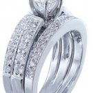 18k Round Cut Diamond Engagement Ring And Band Antique Style Art Deco 1.50ctw