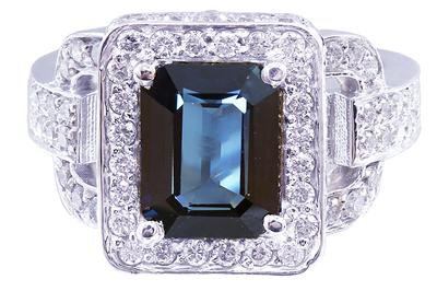 14K WHITE GOLD SAPPHIRE AND ROUND CUT DIAMONDS RING ART DECO ANTIQUE 4.90CT