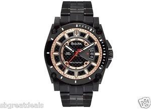 Bulova Precisionist Black Anodized Stainless Steel Bracelet Watch 47mm 98B143