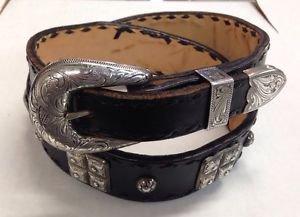 """Western Handmade Lined Taper Belt Sz 32 & 3pc Sterling Buckle w/Concho 1.5"""" & 1"""""""