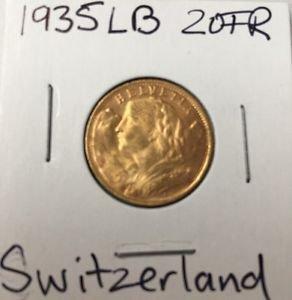 1935 LB SWITZERLAND 20Fr Francs GOLD HELVETIA 20th Century 900AU 22K GOLD Uncirc