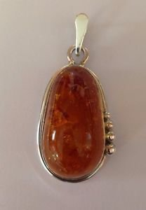 "Contemporary Sterling Silver 925 Big 35x19x15mm Baltic Amber 2 1/8"" x 1"" Pendant"