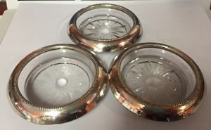 Vintage Frank M Whiting Sterling Silver 925 Rimmed Glass Coasters 04 Pattern 3pc