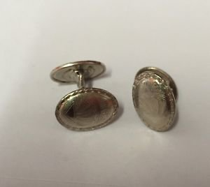 Mens Vintage BELAIS 14K White GOLD Front Cufflinks Art Deco Fashion Great Condit
