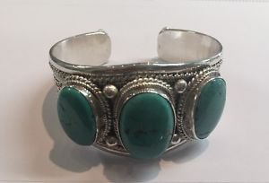 Handmade Tibet Sterling Silver 925 3 Natural Turquoise Stones Cuff Bracelet