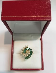 Gorgeous 14K YGold BH 0.60ct Natural Emeralds & 0.28ct H Diamonds Ring GGA Cert