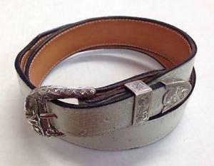 Western Handmade Taper Lined Gen Leather Belt Sz 34 & 3pc Sterling Ranger Buckle