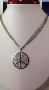 Unique STERLING Silver 925 Clear CZ Pave PEACE Sign on 925 ITALY Multi-Chain Nec