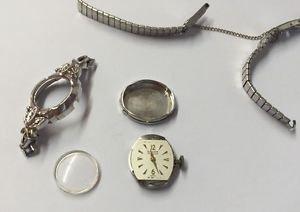 Vintage GRUEN Precision 14K White GOLD w/GEN Diamonds 215-188 NON WORKING 4U2Fix
