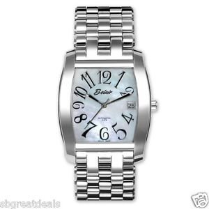 Belair Men's Swiss Made Auto Genuine MOP Fine Watch Sap Crystal Back M8910/B Lux