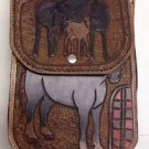 "Western Handmade/Painted Tool Designed Horses Cowboy Leather Saddle Bag 6.5"" 10"""